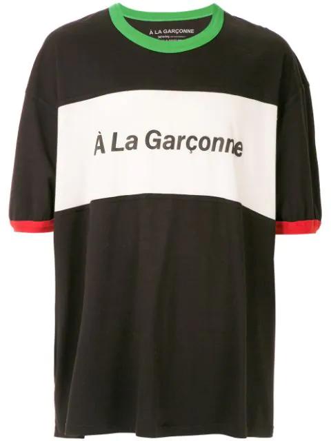 À La Garçonne Logo Print Oversized T-shirt In Black