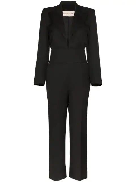 Alexandre Vauthier Tuxedo-inspired Plunge Jumpsuit In Black