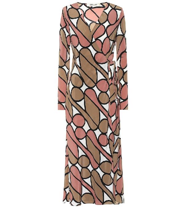 Diane Von Furstenberg Tilly Graphic-Print Silk Wrap Dress In Brown