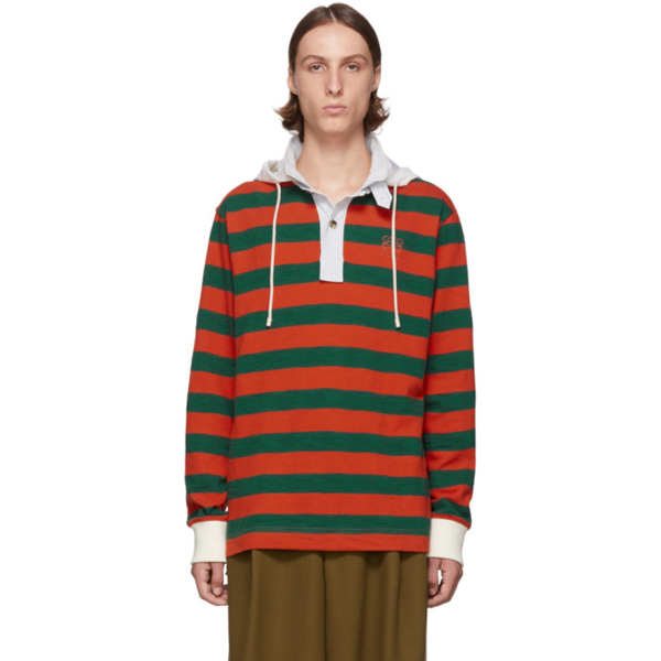 Loewe Striped Mohair And Wool-blend And Cotton-jersey Hoody In Orange