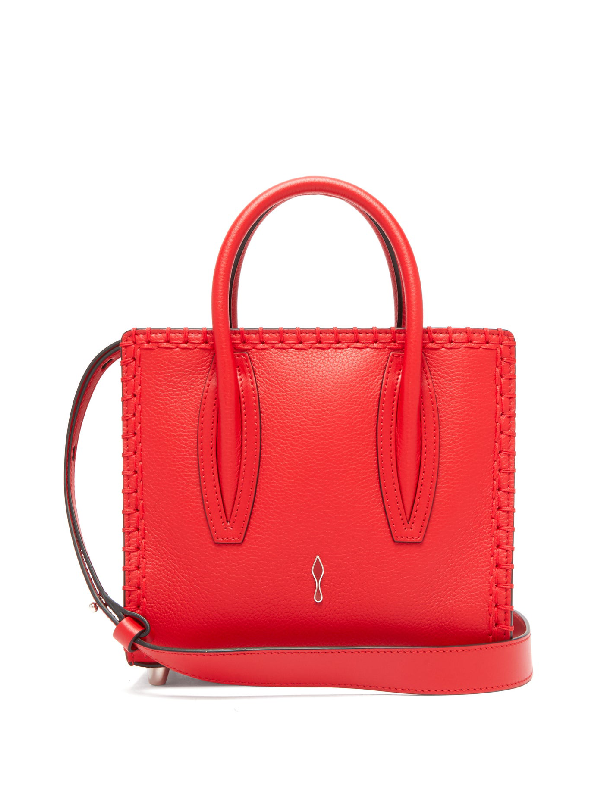 Christian Louboutin Paloma Suede And Leather Shoulder Bag In Red