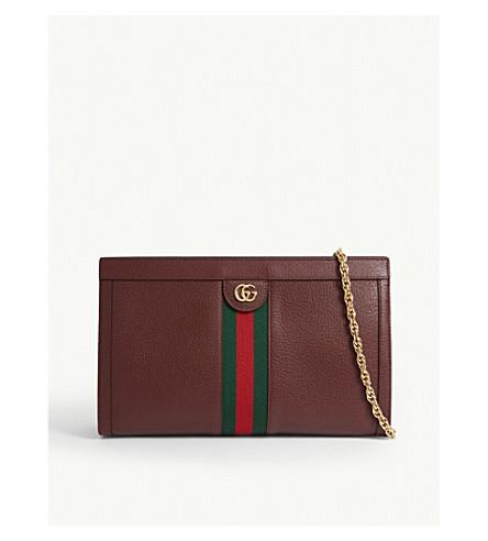 Gucci Ophidia Leather Shoulder Bag In Vintage Bordeaux