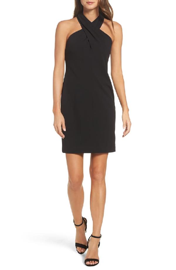Eliza J Crisscross High Neck Dress In Black