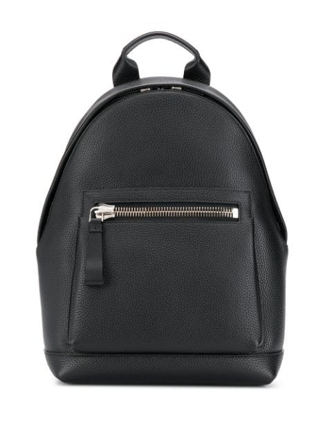 Tom Ford Grained Leather Backpack In Black