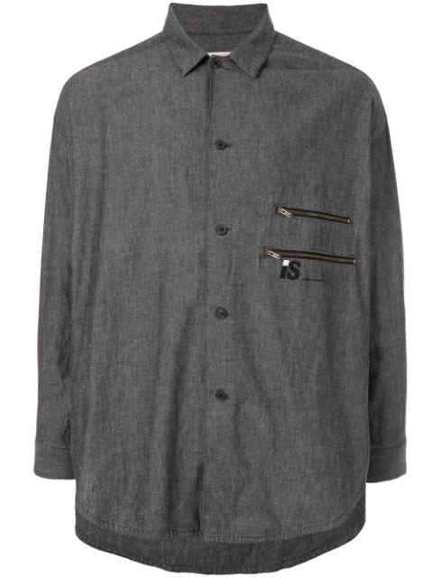 Pre-owned Issey Miyake 1980's Sports Line Gathered Back Shirt In Grey