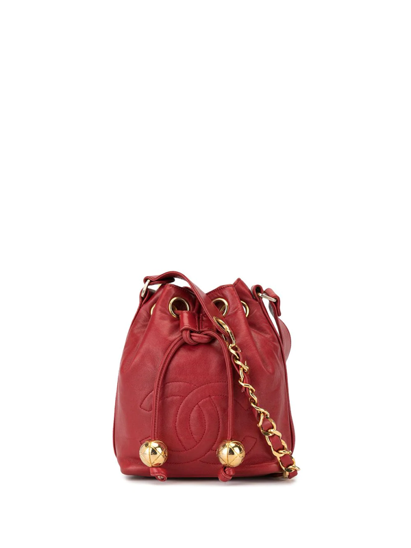 Pre-owned Chanel Interlocking Cc Bucket Bag In Red