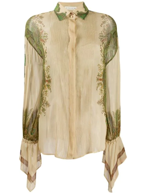 Etro Paisley Print Blouse In 500 Green