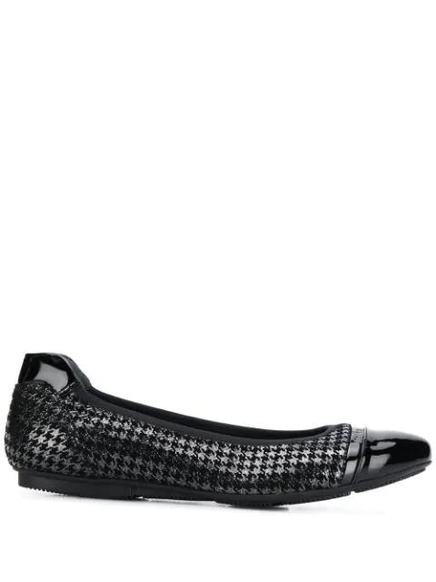 Hogan Houndstooth Ballerina Shoes In Black