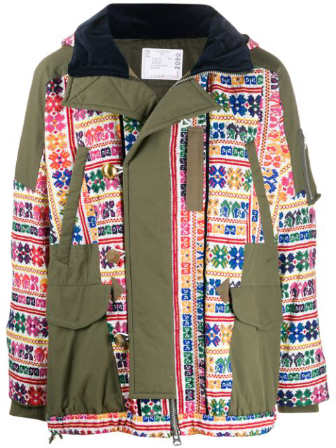 Sacai Embroidered Parka Coat In Green