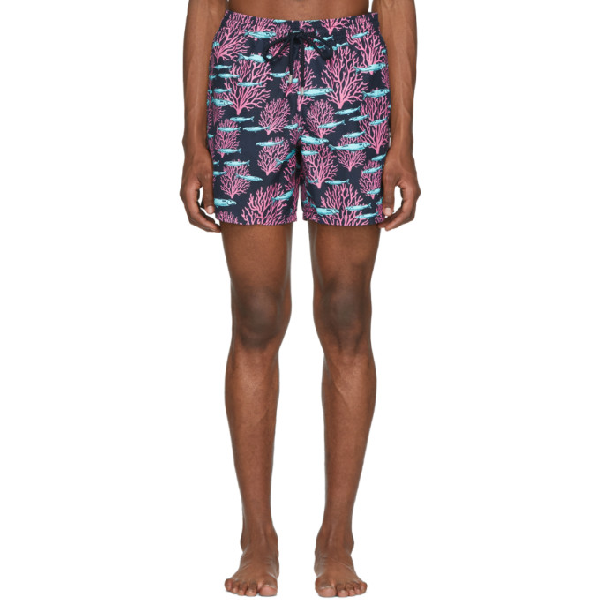 Vilebrequin Men Swimtrunks Coral & Fish In 390 Bleumar