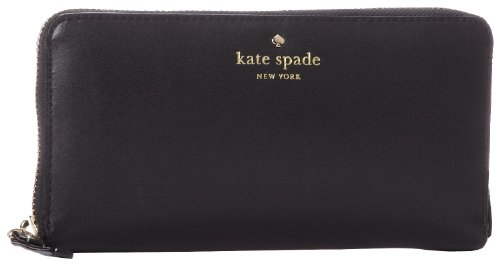 Kate Spade Cameron Street Lacey Leather Continental Wallet In Black