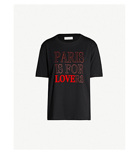 Sandro 'paris Is For Lovers' Slogan Cotton-jersey T-shirt In Black