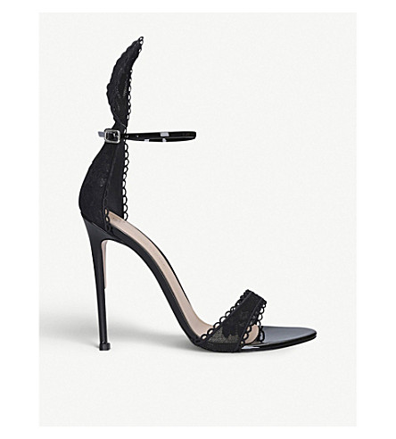 Gianvito Rossi Bunny Patent Leather And Floral Lace Sandals In Black