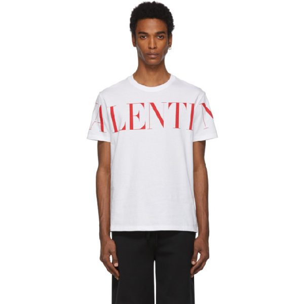 Valentino White And Red Cotton T Shirt With Logo Print In A33bianco/