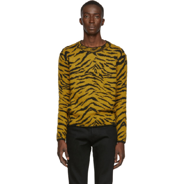 Saint Laurent Yellow And Black Wool Sweater With Zebra Pattern In 7463 Ylwblk