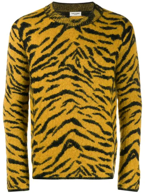 Saint Laurent Yellow And Black Wool Sweater With Zebra Pattern