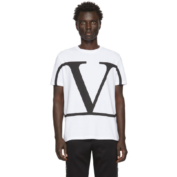Valentino Vlogo Print Cotton Jersey T-shirt In A01bianco/