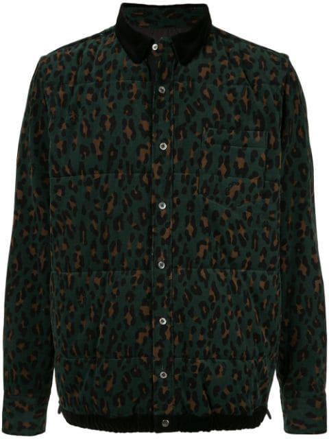 Sacai Leopard Print Shirt In 551 Green