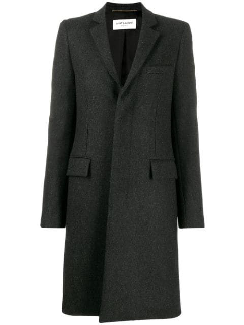 Saint Laurent Single Breasted Fitted Coat In Grey