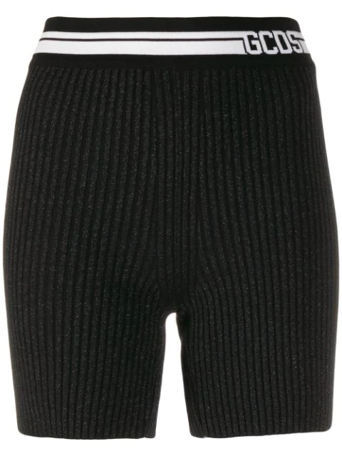 Gcds Logo Band Knitted Shorts In Black