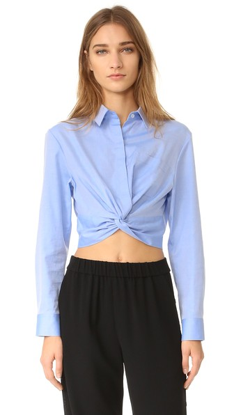 fafec25c1d424 T By Alexander Wang Cotton Twill Twist Front Long Sleeve Shirt In Blue. In  Chambray