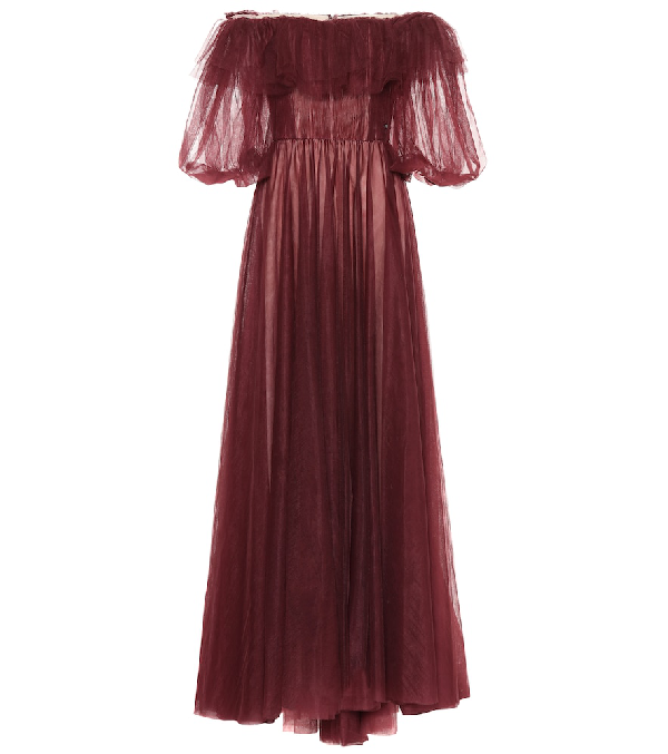 Valentino Tulle Evening Dress With Poetry Detailing In Red
