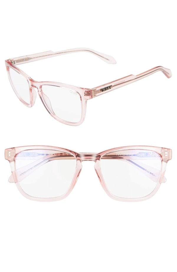 Quay Mini Hardwire 50mm Blue Light Blocking Optical Glasses In Pink