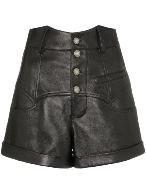 Saint Laurent High-waisted Leather Shorts In Black