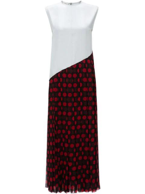 Jw Anderson Pleated Polka-dot Chiffon Maxi Dress In Black