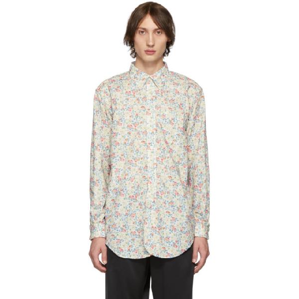 Engineered Garments White Century Floral Shirt In Rk071natpnk