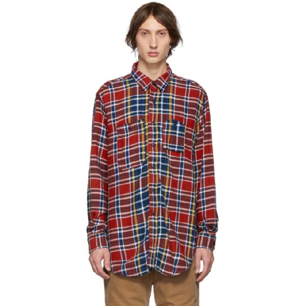 Engineered Garments Checked Cotton-flannel Shirt In Es006rednav