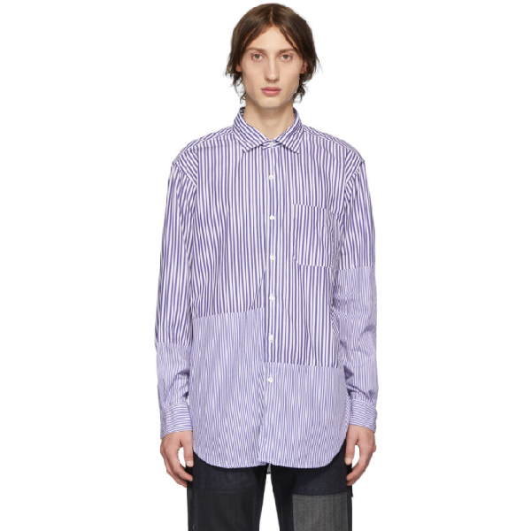 Engineered Garments Blue And White Striped Shirt In Pb021bluwht