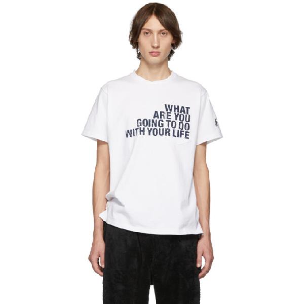 Engineered Garments White Text T-shirt