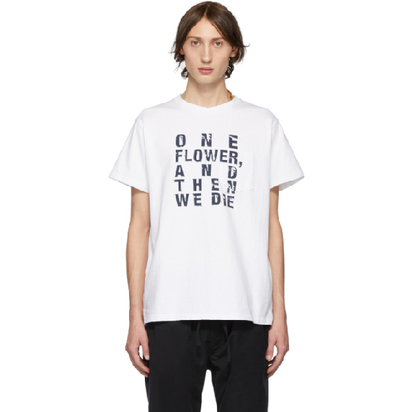 Engineered Garments White And Navy Text T-shirt