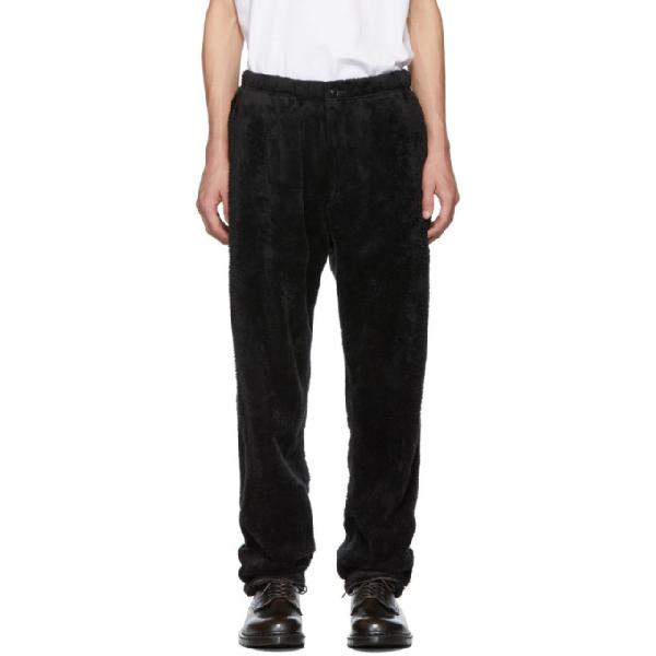 Engineered Garments Black Shaggy Fleece Lounge Pants In St005 Black