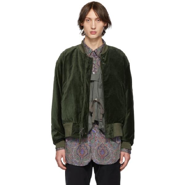 Engineered Garments Green Velvet Bomber Jacket In Wp004 Olive