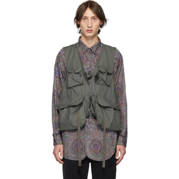 Engineered Garments Green Game Vest In Wl002 Olive