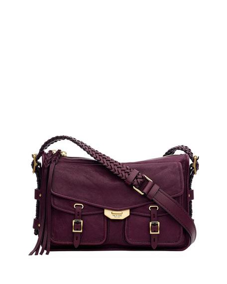 Rag & Bone Field Leather Crossbody Messenger Bag In Dark Purple