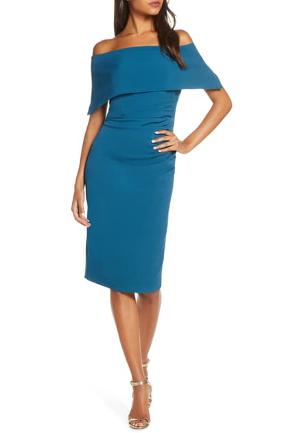 Vince Camuto Popover Dress In Teal Modesens