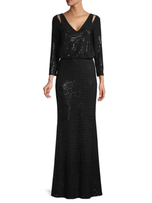 Calvin Klein Sequined Cutout Blouson Gown In Black