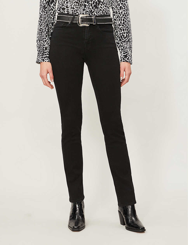7 For All Mankind The Straight Bair High-rise Stretch-denim Jeans In Classic Black Noir
