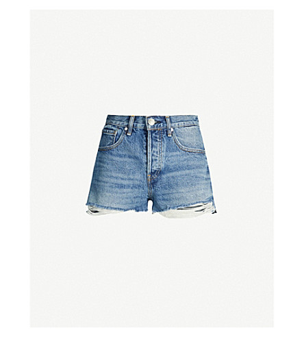 Rag & Bone Maya Ripped High-rise Shorts In Urth