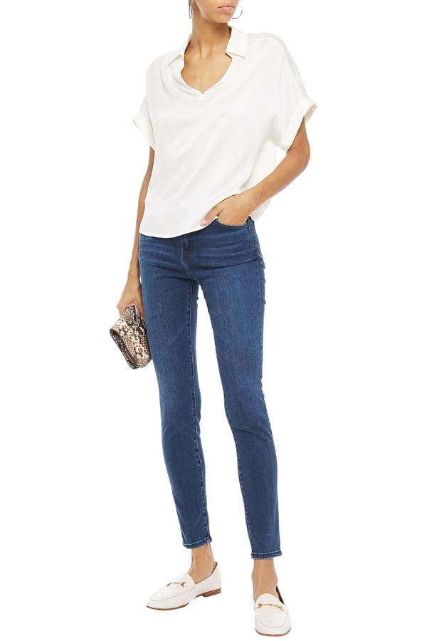 J Brand Maria Faded High-rise Skinny Jeans In Dark Denim
