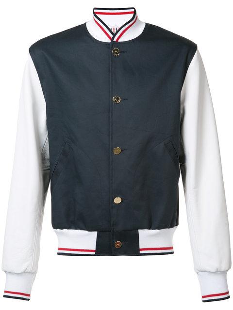 Men's Leather Sleeved Varsity Bomber Jacket In Navy in Blu