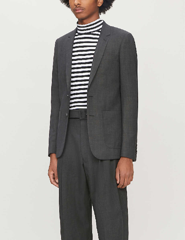 Sandro Single-breasted Wool Blazer In Mocked Grey