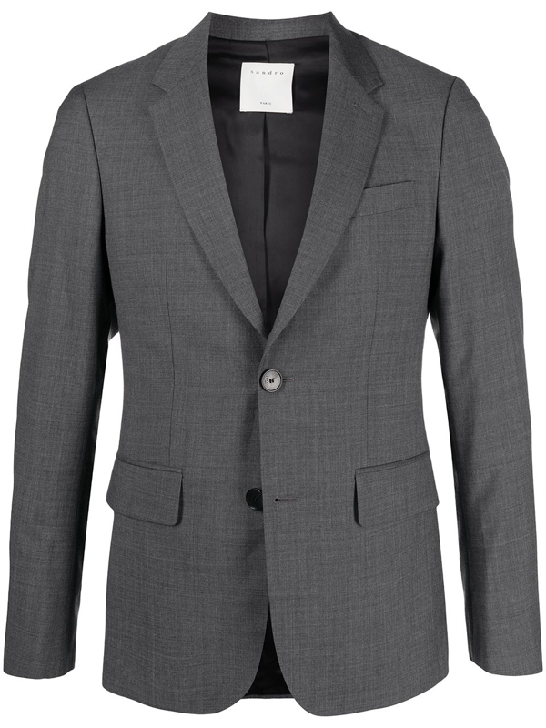 Sandro Single-breasted Suit Jacket In Grey