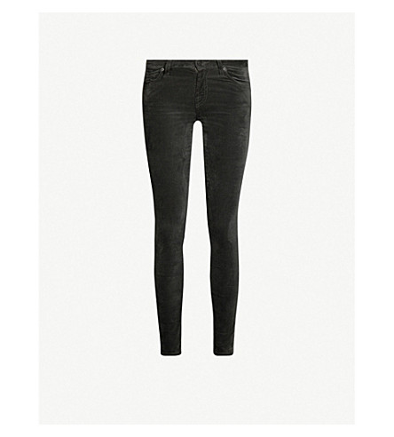 7 For All Mankind Skinny Velvet High-Rise Jeans In Asphalt