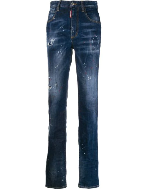 Dsquared2 Distressed Straight Leg Jeans In Blue