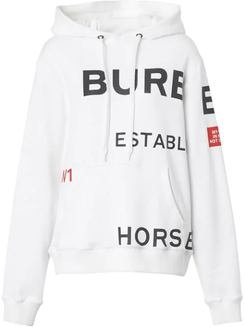 Burberry Horseferry Print Cotton Oversized Hoodie In White