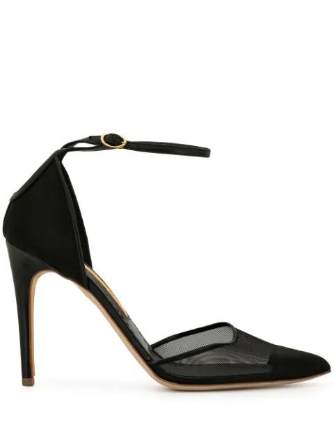 Rupert Sanderson Mesh-panel Ankle-strap Pumps In Black
